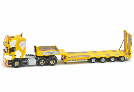 "IMC / Tekno Scania 4 Series Topline 6x4 - Goldhofer 4 axle semi low loader ""Keller & Hess"""